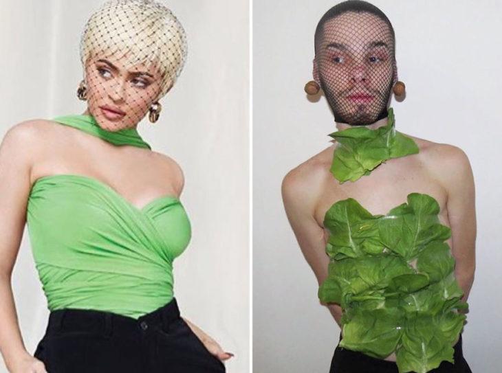 Chico imitando el atuendo de Kylie Jenner con lechucas y una maya en la cabeza