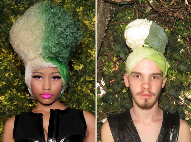 Chico imitando el atuendo de Nicki Minaj con lechicas y coles
