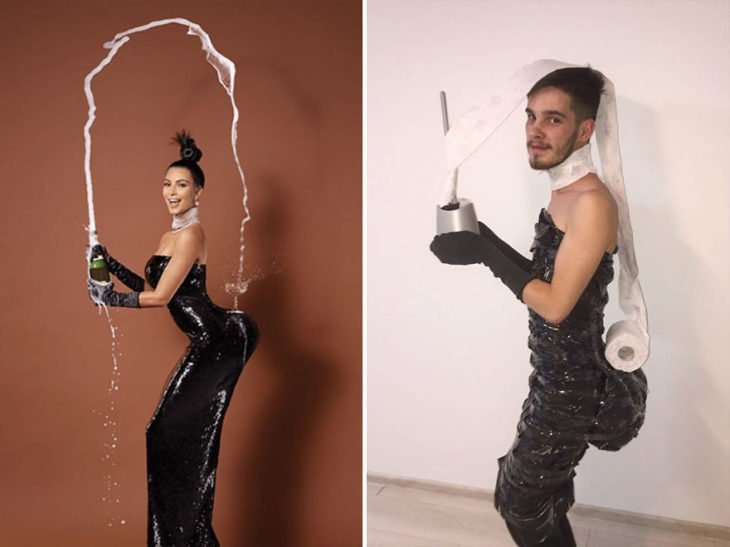 Chico imitando el atuendo de Kim Kardashian