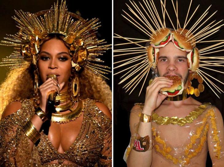 Chico imitando el atuendo de Beyoncé con hamburguesas y palitos de madera