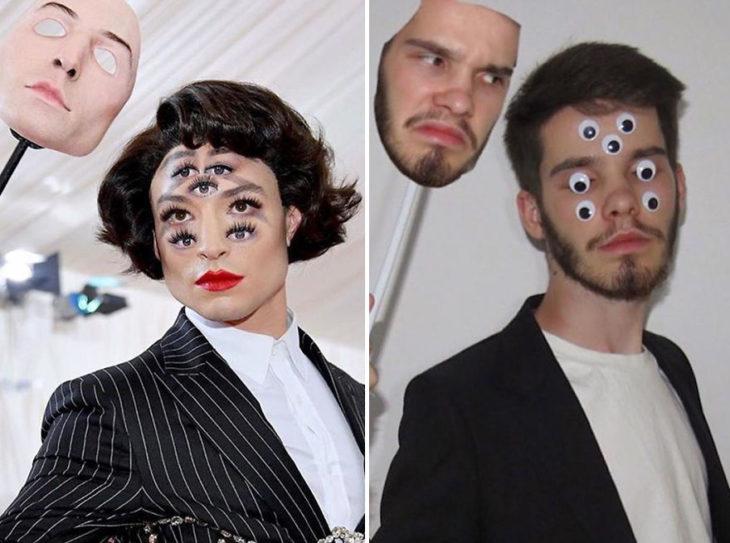 Chico imitando el atuendo de Ezra miller con ojitos de plástico y una cara hecha en photoshop