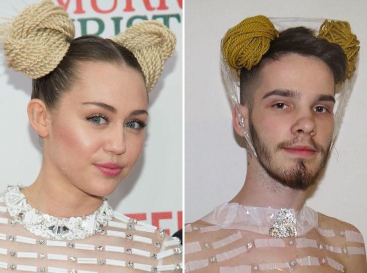 Chico imitando el atuendo de Miley Cyrus con unos moñitos y cinta adhesiva