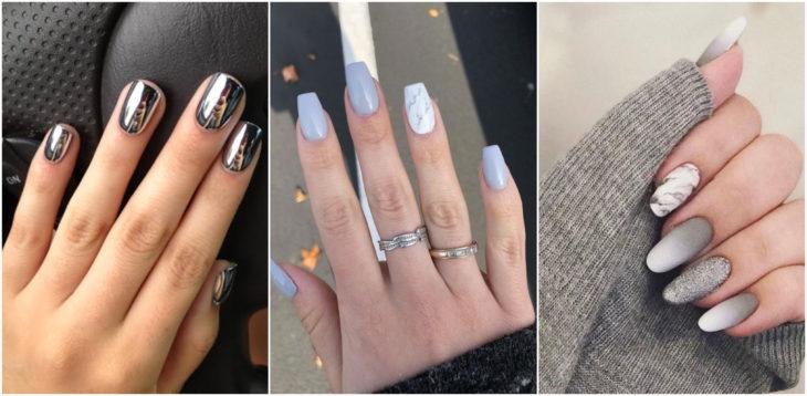 Chicas mostrando sus manos con manicura en tono gris y plata