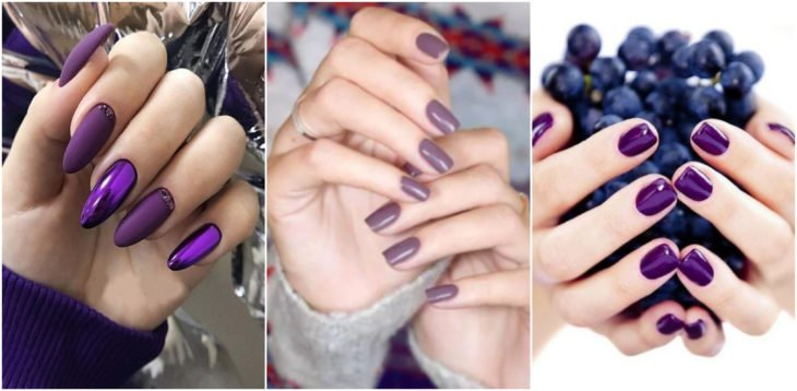 Chicas mostrando sus manos con manicura en tono morado