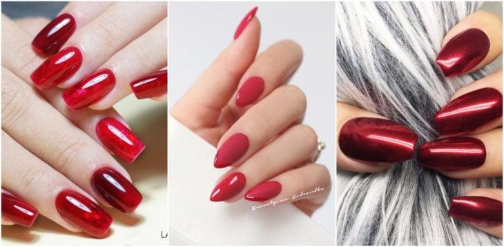 Chicas mostrando su manicura con uñas rojas