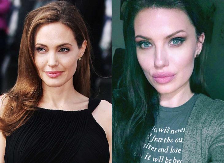 Famosos y sus doppelgängers; Angelina Jolie