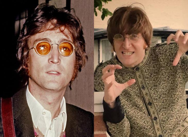Famosos y sus doppelgängers; John Lennon de The Beatles