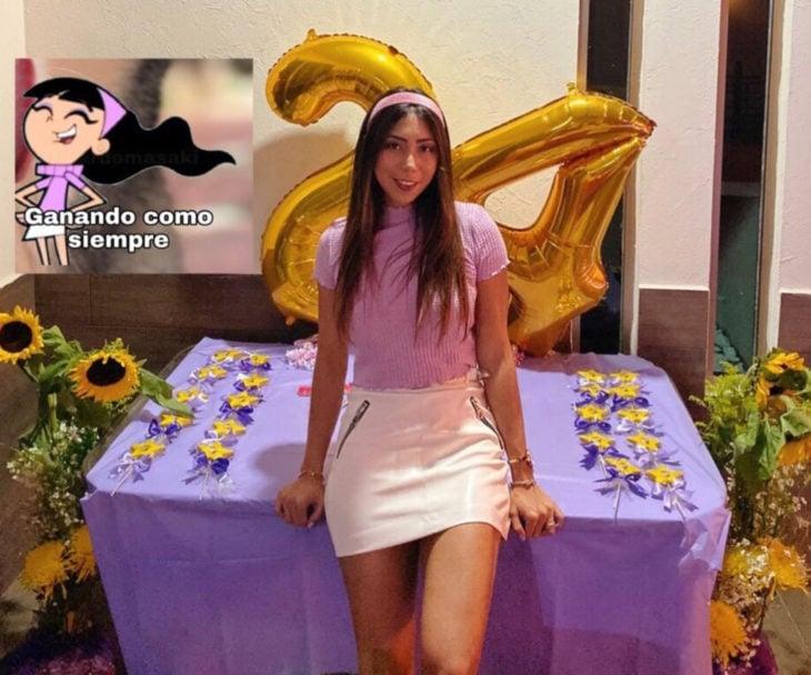 Chica celebra fiesta de cumpleaños con temática de memes y stickers; Trixie de Los padrinos mágicos