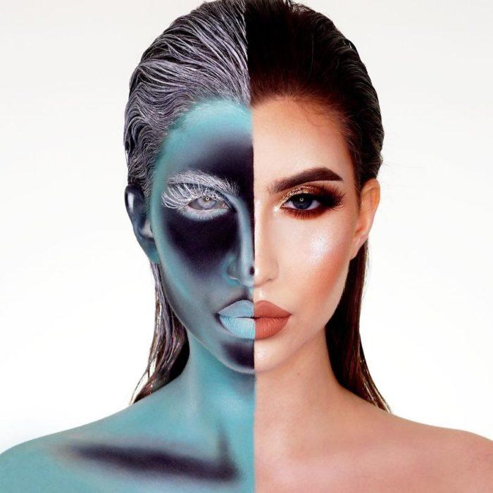 Chica con la mitad del rostro maquillado como si se tratara de una radiografia