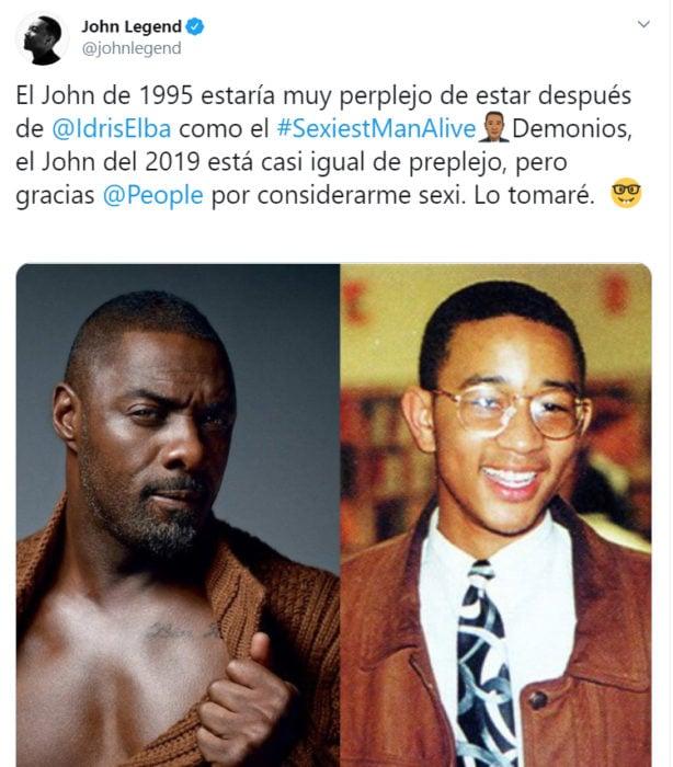Comentario de John Legend en Twitter sobre su título de hombre más sexi vivo