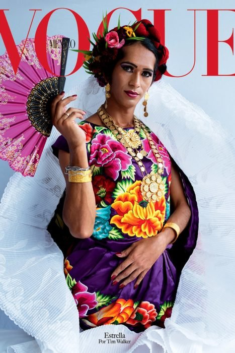 Estrella, Muxe, México, modelando para la portada de Vogue