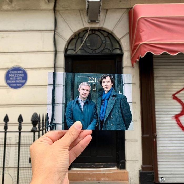 Andrea David viaja fotografiando locaciones de películas; Sherlock Holmes, Watson, Benedict Cumberbatch y Martin Freeman