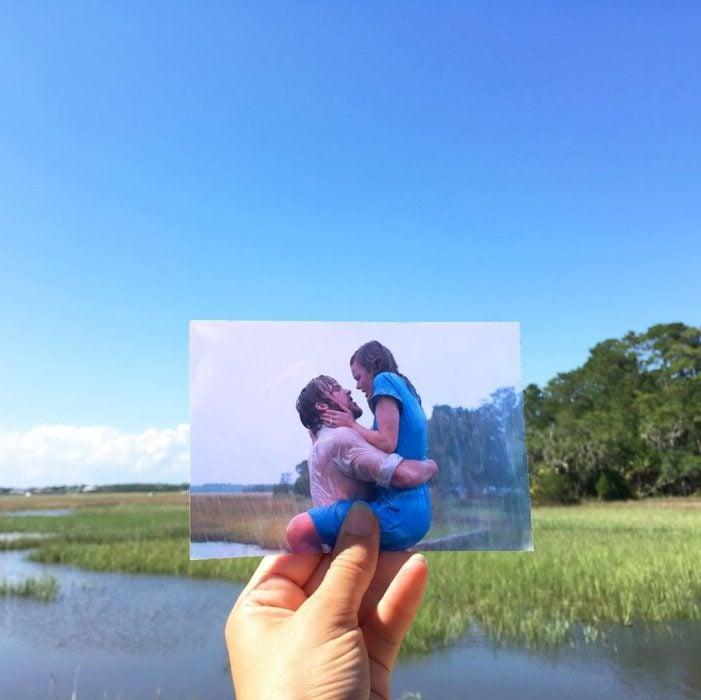 Andrea David viaja fotografiando locaciones de películas; Diario de una pasión, Rachel McAdams, ryan Gosling, Allie Hamilton, Noah Jr., beso