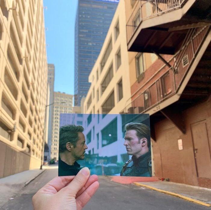 Andrea David viaja fotografiando locaciones de películas; Avengers, endgame, Tony Stark, Capitán América, Iron Man, Steve Rogers, Robert Downey Jr., Chris Evans