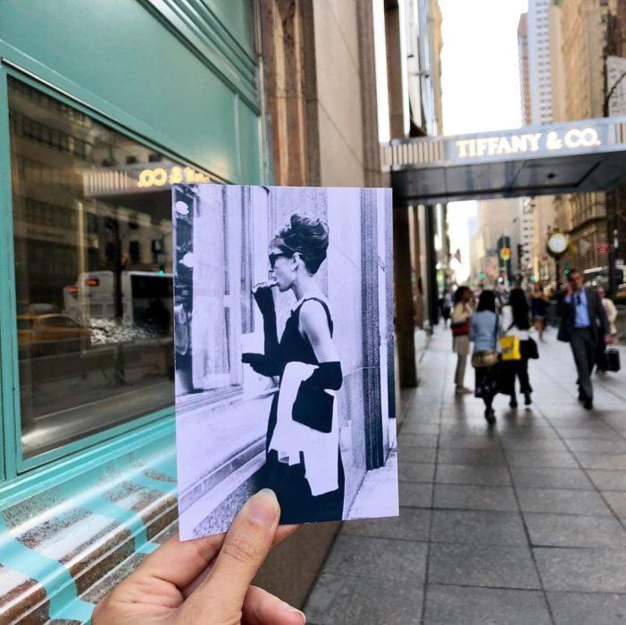Andrea David viaja fotografiando locaciones de películas; Desayuno en Tiffany's, Holly Golightly, Audrey Hepburn
