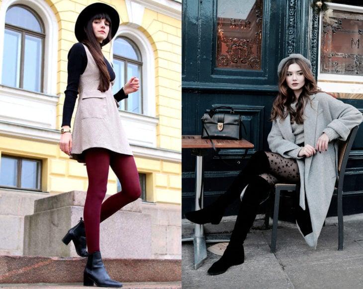 Cómo usar medias con tu atuendo de oficina; chicas con pantimedias rojas, con estrellas, de botines y botas largas, con sombrero y vestido