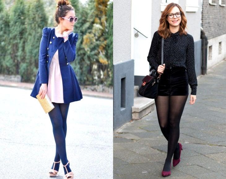 Cómo usar medias con tu atuendo de oficina; chicas con vestido rosa, saco azul, blusa de polka dots, short de gamuza, pantimedias y zapatillas