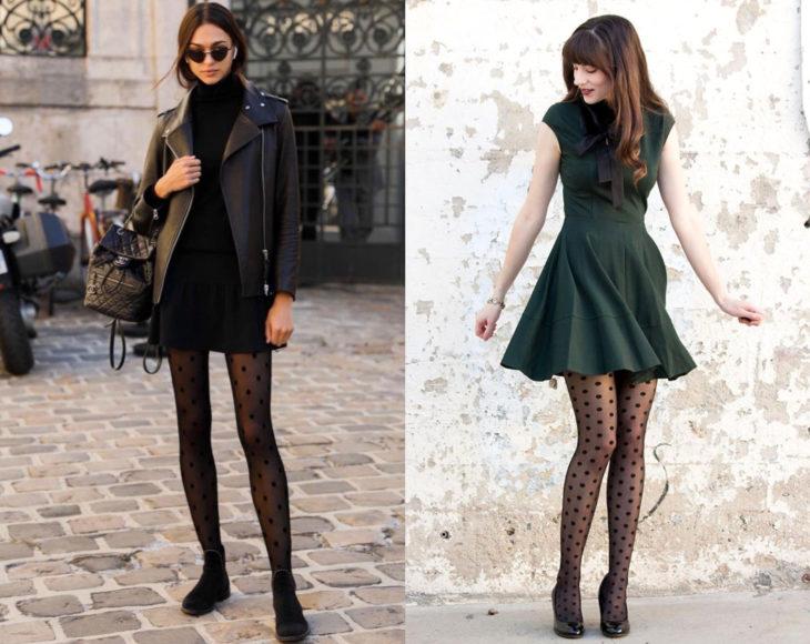 Cómo usar medias con tu atuendo de oficina; chicas con pantimedias estampadas de puntos, con vestido verde y chamarra de cuero negra