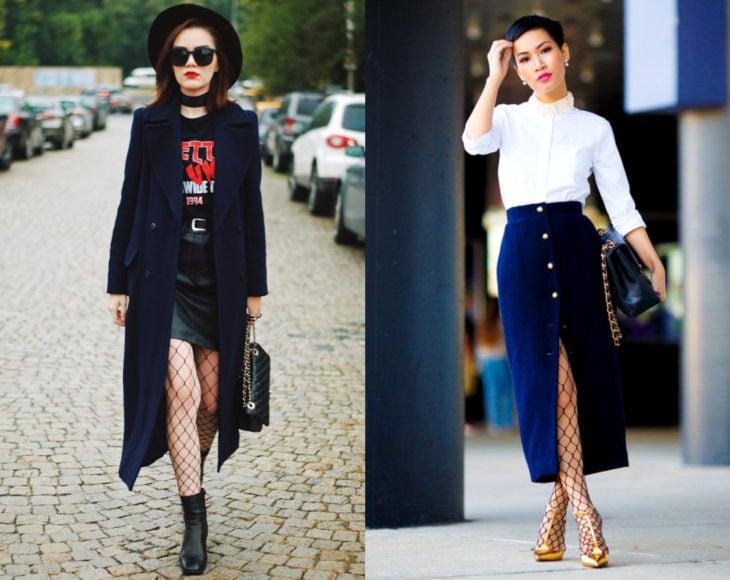 Cómo usar medias con tu atuendo de oficina; chicas con pantimedias de red, con saco largo, maxifalda de pana con botones, blusa de vestir blanca, camisa de banda de rocj, bolsa de mano y lentes de sol