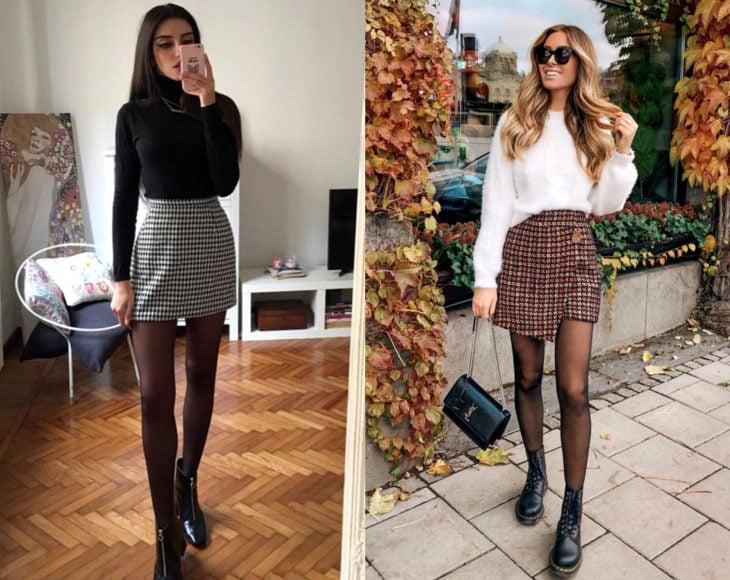 Cómo usar medias con tu atuendo de oficina; chicas con pantimedias negras, botas, falda a cuadros y suéteres