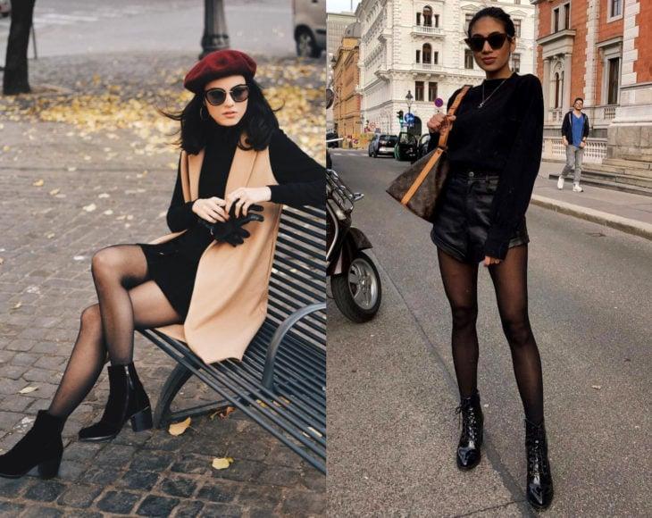 Cómo usar medias con tu atuendo de oficina; chica con atuendo estilo francés, boina, chaleco largo, vestido negro, botines, short de vinipiel, lentes de sol y pantimedias