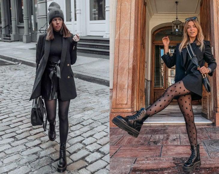 Cómo usar medias con tu atuendo de oficina; chicas con pantimedias negras con estampado de puntos, con saco negro, gorra de invierno y botas Dr. Martens