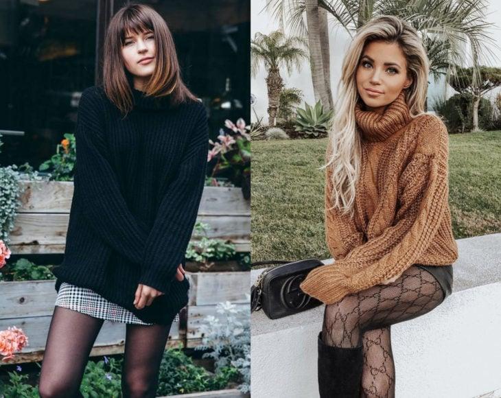 Cómo usar medias con tu atuendo de oficina; chica de cabello rubio y largo y mujer castaña, con suéteres oversized negro y beige con pantimedias