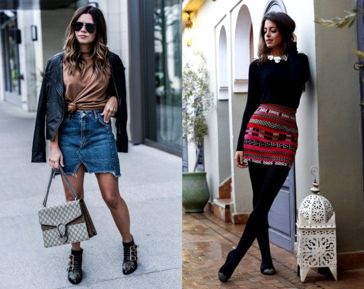 Cómo usar medias con tu atuendo de oficina; chicas con pantimedias color carne y negras, con minifalda de mezclillaa y estampado, con chamarra negra de cuero y suéter