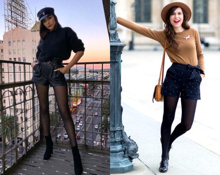 Cómo usar medias con tu atuendo de oficina; chicas con short, suéter, gorro y pantimedias