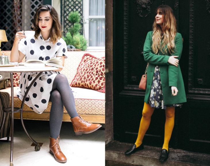 Cómo usar medias con tu atuendo de oficina; chicas con pantimedias coloridas, grises y amarillas, con saco verde y vestido de puntos grandes; sentada leyendo un libro y tomando café