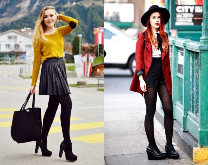 Cómo usar medias con tu atuendo de oficina; chica rubia y pelirroja con suéter amarillo y saco rojo, con short y falda tableada, pantimedias y botines