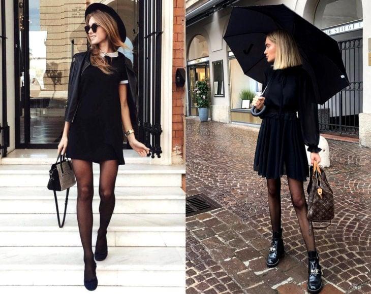 Cómo usar medias con tu atuendo de oficina; chicas con vestidos negros, paraguas, chamarra de cuero, pantimedias y bolsa de mano