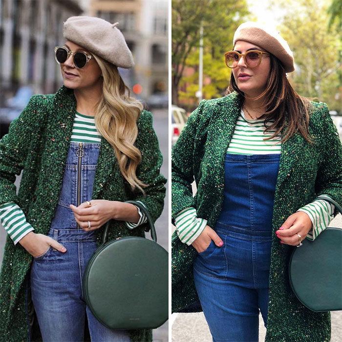 Katie Sturino replicando el outfit de Blair Eadie
