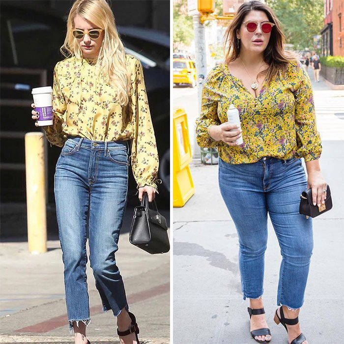 Katie Sturino replicando el outfit de Emma Roberts