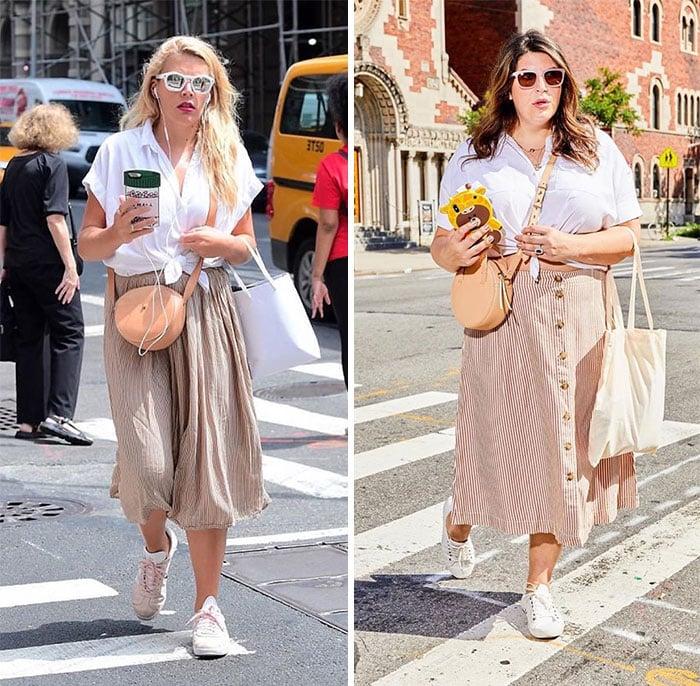 Katie Sturino replicando el outfit de Busy Philipps