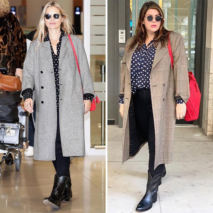 Katie Sturino replicando el outfit de Kate Moss
