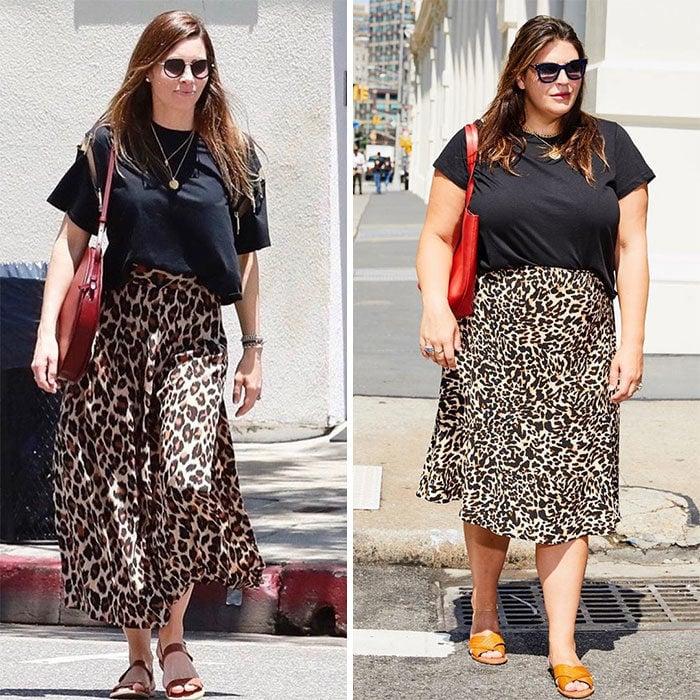 Katie Sturino replicando el outfit de Jessica Biel