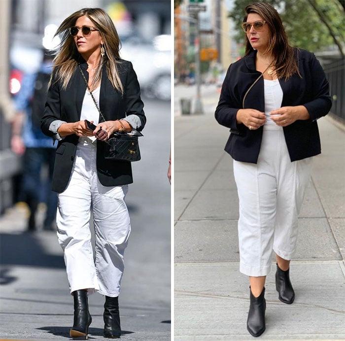 Katie Sturino replicando el outfit de Jennifer Aniston