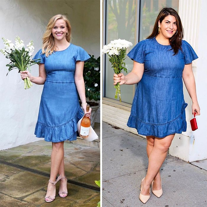 Katie Sturino replicando el outfit de Reese Witherspoon