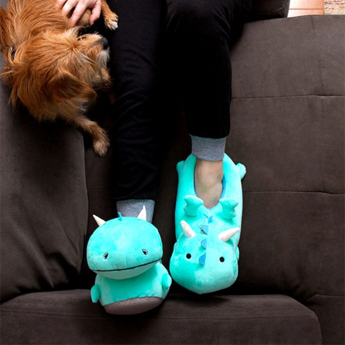 Bonitas pantuflas kawaii; calzado de dragón