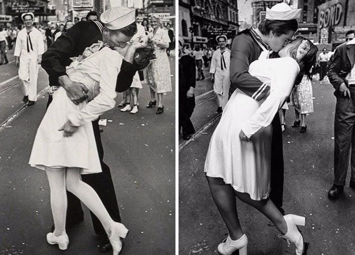 Sierra Schultzzie como enfermera besando a marinero