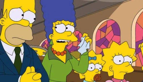 Escena de la serie Los simpson, personajes en la iglesia con cara de desconcierto
