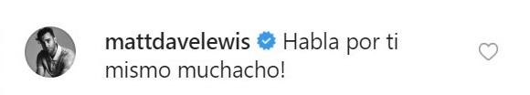 Comentario de Matthew Lwis a Tom Felton en Instagram