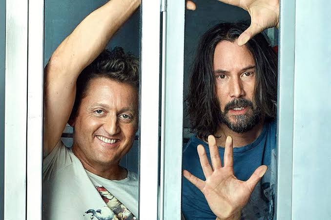 escena de la próxima película Bill & Ted Face The Music con Keanu Reeves