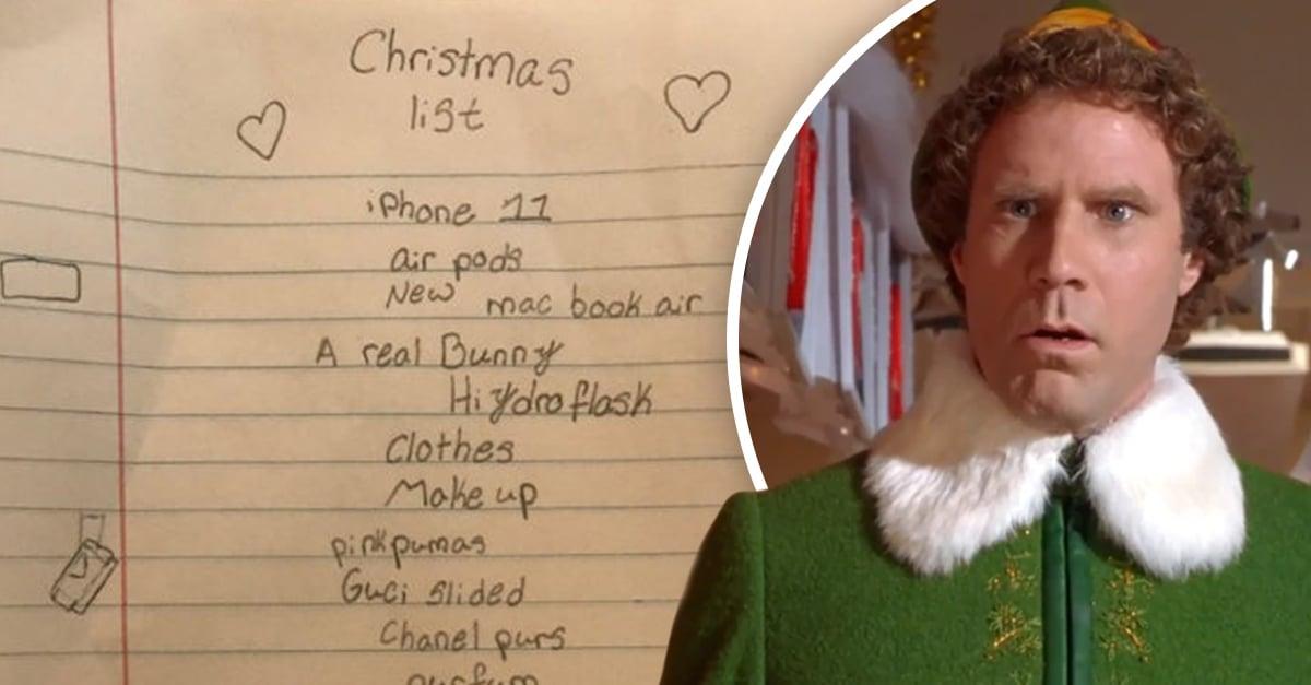 Carta de navidad de una niña y Will Ferrell como gnomo