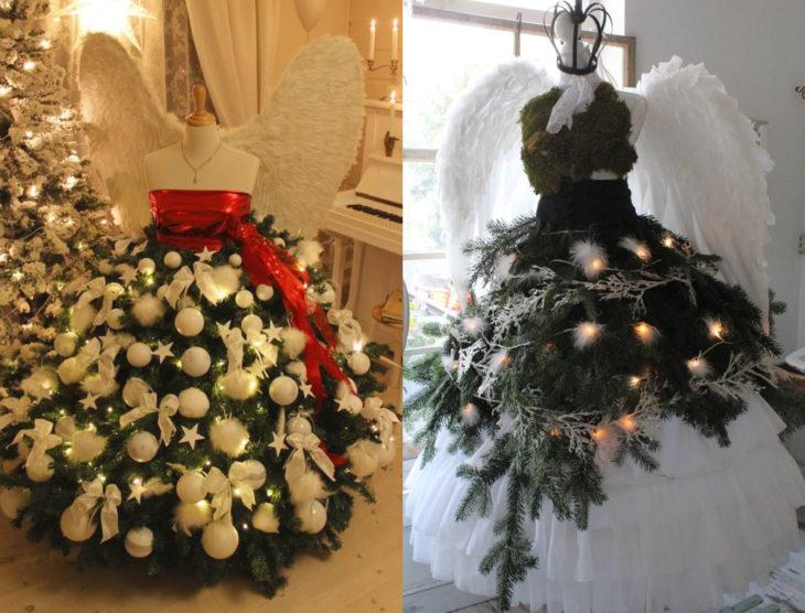 Árbol verde con blanco de Navidad como vestido de maniquí con alas de ángel