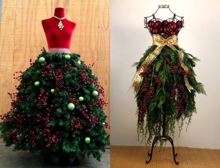 Árbol verde con rojo de Navidad como vestido de maniquí