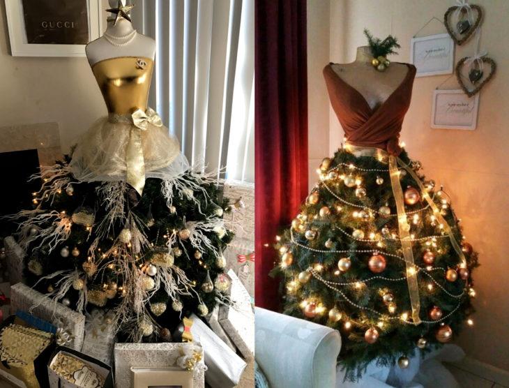 Árbol verde con dorado de Navidad como vestido de maniquí