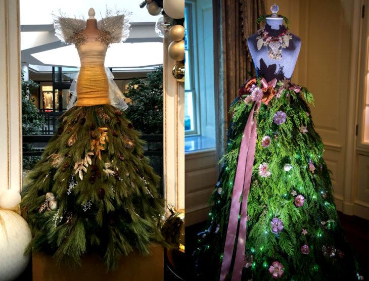 Árbol verde de Navidad como vestido de maniquí