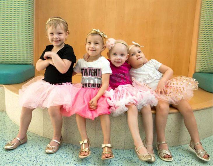 McKinley, Lauren, Ava y Chloe; niñas vencen al cáncer y se hacen amigas en el hospital; pequeñas con tutús rosas y moños dorados